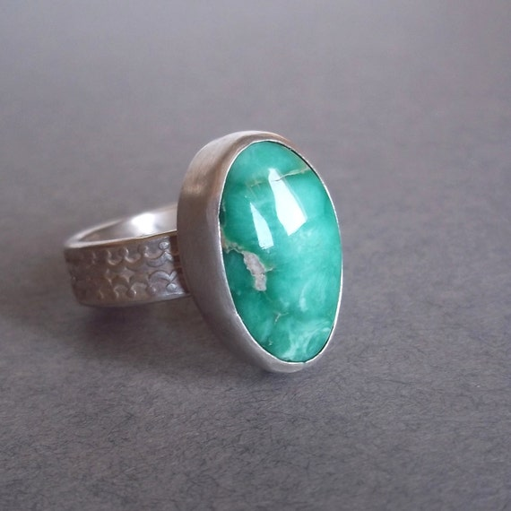 Ready to SHIP - Beautiful Blue/Green Nevada Variscite - One of a kind Sterling and Fine Silver Ring