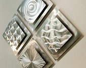 All Natural Silver Modern Metal Wall Sculpture - Etched Square Abstract Accents Contemporary Metal Art - 4 Squares by Jon Allen