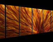 Vivid Golden Large Contemporary Metal Art - Earthtone Abstract Metal Painting - Handmade Wall Sculpture - Fall Plumage XL by Jon Allen