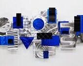 Gemetric Three-Dimensional Metal Wall Sculpture - Silver Blue & Black Modern Metal Art - Abstract Wall Decor Accent - Odyssey by Jon Allen