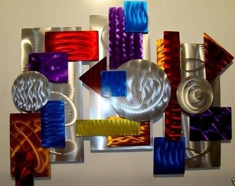 Bright & Colorful Abstract Metal Wall Sculpture - Multicolored Handmade Modern Metal Art - Unique Wall Accent - 3 Piece Color by Jon Allen