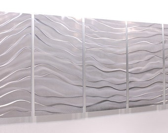 Vibrant Silver Contemporary Metal Wall Sculpture - Reflective Abstract Wall Art - Large Metallic Hanging Decor - Arctic Wave by Jon Allen