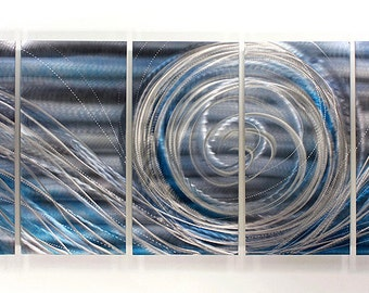 Blue & Silver Abstract Metal Painting - Modern Home Decor - Contemporary Wall Art - Accent - Wall Hanging - Off Shore Winds XL  by Jon Allen