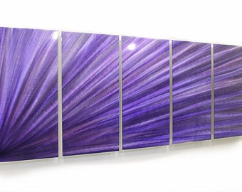 Beautiful Purple Abstract Metal Painting - Handpainted Modern Metal Accent - Home Decor - Wall Art - Lavender Triangulate by Jon Allen