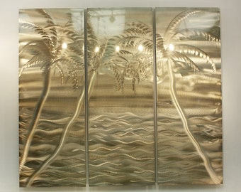 On Sale! Tropical Beach Scene Metal Wall Art, Gold Modern Metal Wall Sculpture, Indoor Outdoor Hanging Wall Art - Private Oasis by Jon Allen