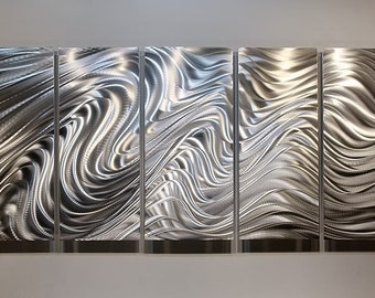 Large All Natural Silver Contemporary Metal Art - Modern Wall Sculpture - Wavy Etched Reflective Accent - Hypnotic Sands XL by Jon Allen