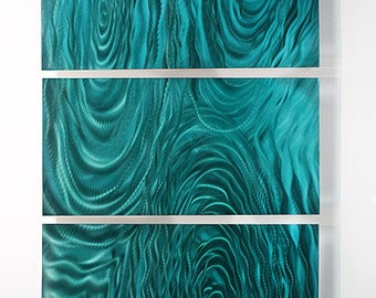 Teal Modern Metal Wall Art - Abstract Contemporary Painted Panel - Metal Painting - Home Decor - Teal Liquid Ambiance by Jon Allen