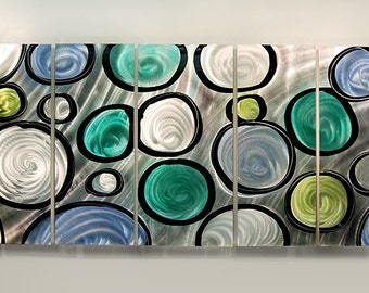 Original Contemporary Metal Abstract Painted Wall Art Circles of Life / by Statements2000