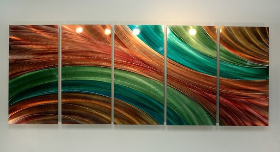 Orange & Green Abstract Metal Painting - Modern Metal Wall Art - Home Decor - Wall Accent - Eternal Nature by Jon Allen