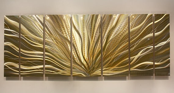 Gold silver modern metal wall art metallic by for Gold wall art