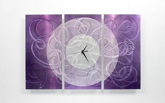 Purple Metal Wall Clock - Modern Metal Wall Accent - Clock Decor - Clock Accent - Purple Passion Clock by Jon Allen