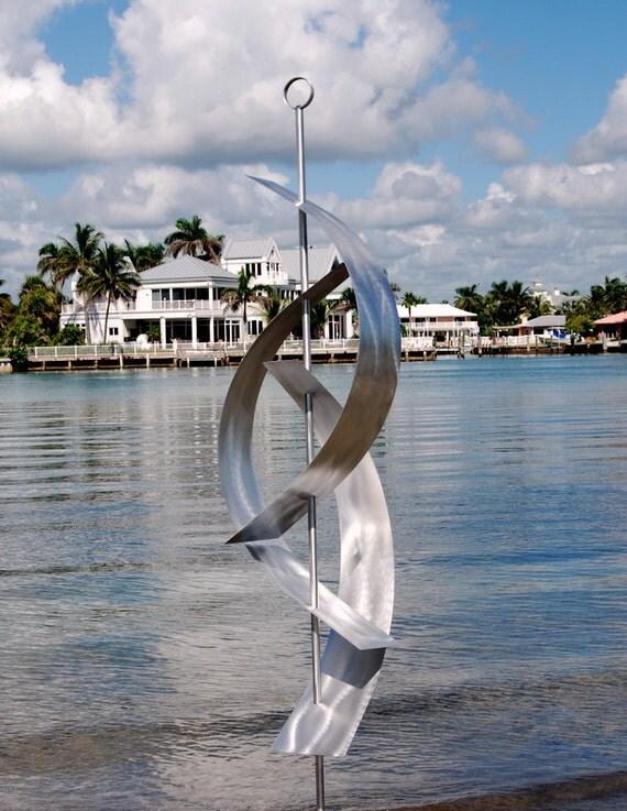 Silver Outdoor Abstract Metal Sculpture - Nautical Contemporary Metal Art-Modern Garden Art-Yacht Decor-Silver Maritime Massive by Jon Allen