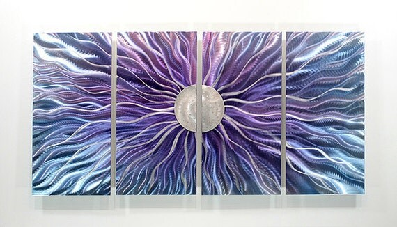 Purple & Silver Abstract Painting - Modern Metal Wall Art - Home Decor - Contemporary Accent - Royal Static Blush by Jon Allen