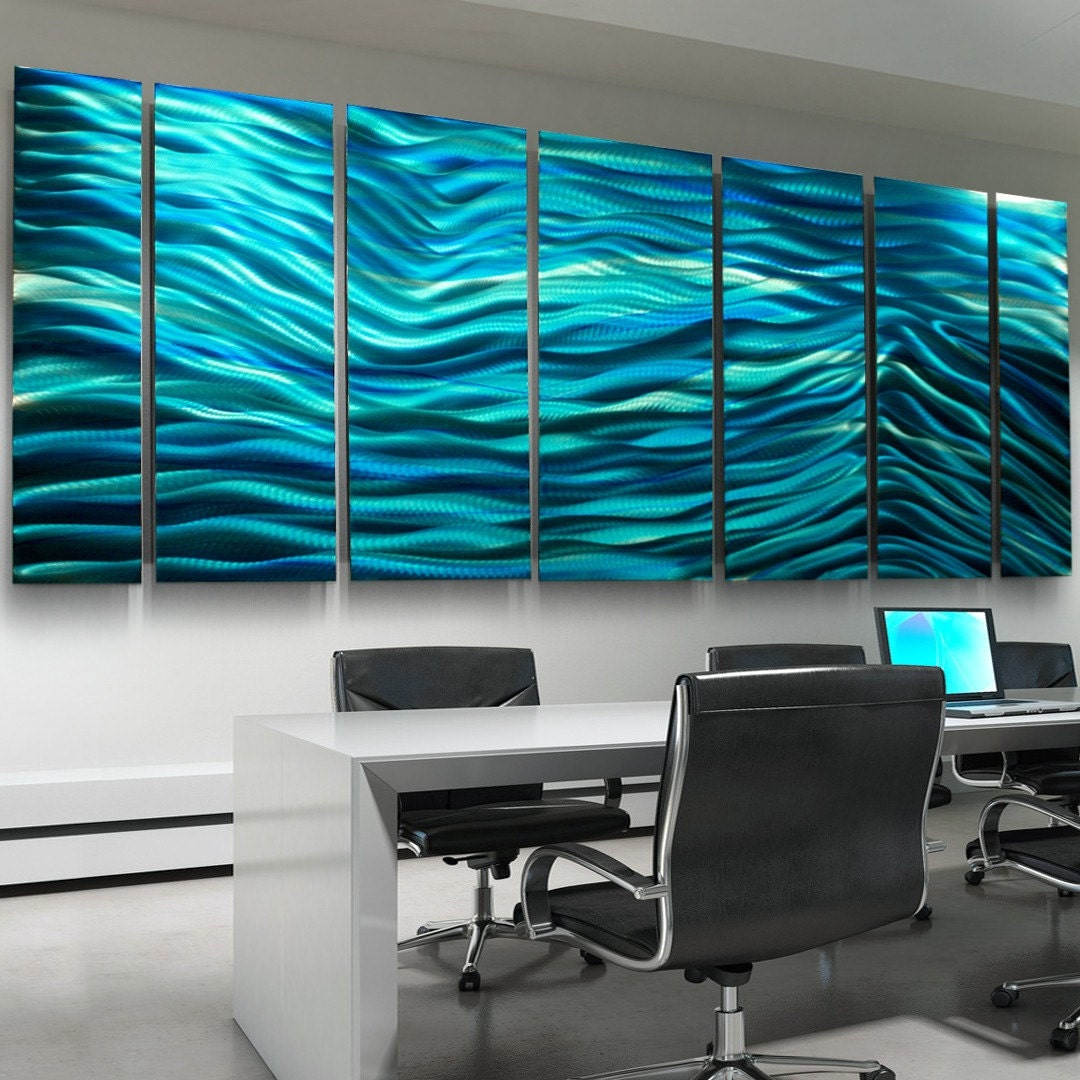 Sale aqua blue multi panel modern metal wall art sculpture for Big wall art