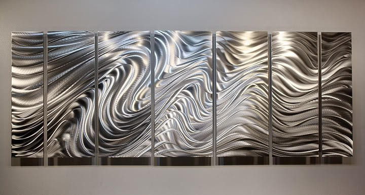 Large Silver Wall Decor: Large All Natural Silver Contemporary Metal Art Modern Wall