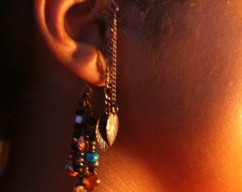 CUSTOM ORDER Copper Ear Cuff with Lots of Leaves and Things (earcuff)
