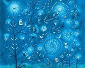 Flurry In Blue - Print 8x10