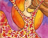 ACEO - Woman and sun joyful happy small art print