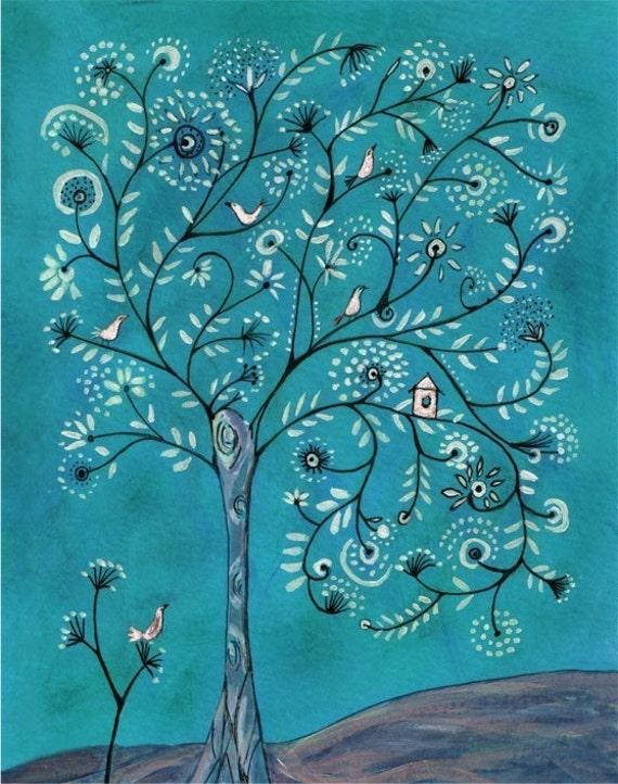 Filigree Tree In Turquoise - Print 8x10