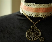 SALE Antique lace and bicycle charm choker necklace