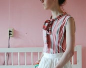 SALE Sweet striped spring blouse with bow collar