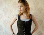 SALE Black satin and pinstripe reversible rococo corset top sz S