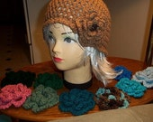 reserved cloche hat with flower accessories made to order for jih2690