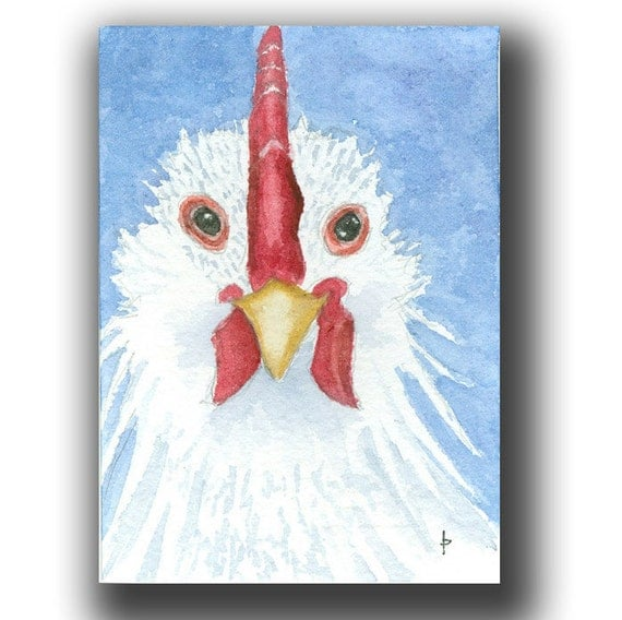 watercolor ACEO original CHICKEN 7card draw