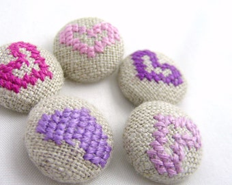 Purple Hearts - Hand Embroidered Buttons