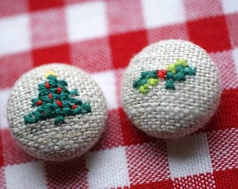 Happy Christmas - Hand Embroidered Buttons