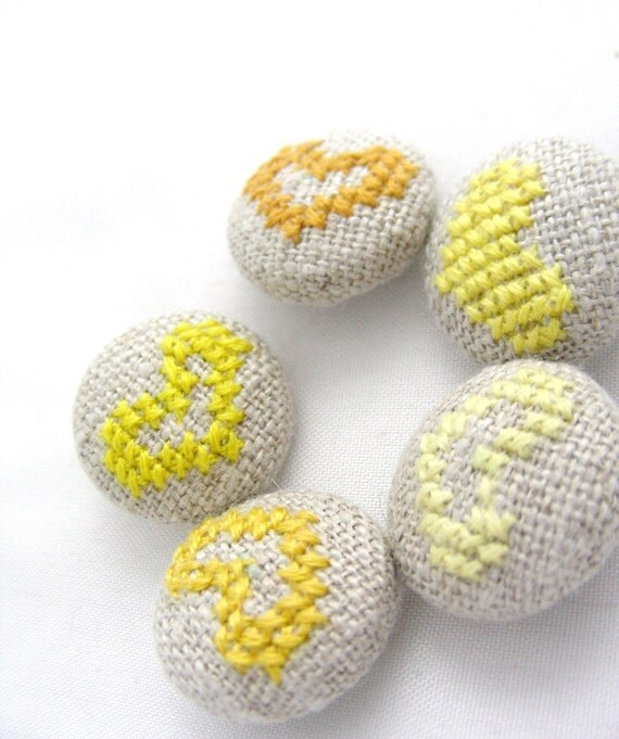 Custom Listing for Maria - Yellow Hearts - Hand Embroidered Buttons