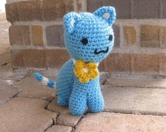 Teal Kawaii Kitty with Flower Collar