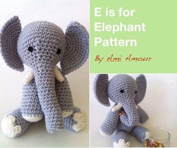 E is for Elephant Pattern Amigurumi Crochet PDF