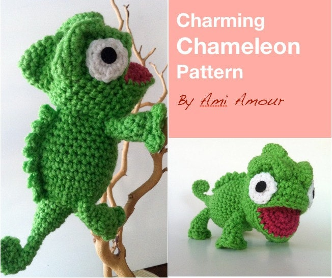 Amigurumi Halloween Free Patterns : Charming Chameleon Pattern Amigurumi Crochet PDF