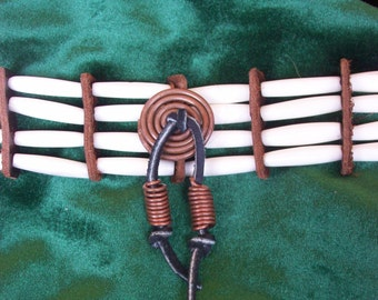 Native american style four strand bone hairpipe necklace choker with leather and copper