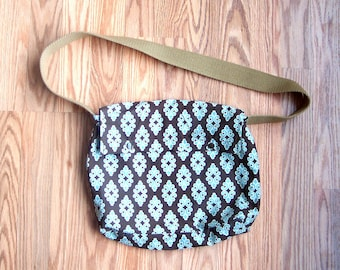Upcycled fabric blue brown and white bag with vintage tan webbing handle purse
