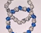 Skull and Blue Dice Bracelet Set