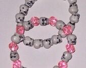 Skull and Pink Dice Bracelet Set
