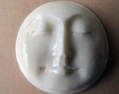 MS Moon Face Carved Bone Rim 1 inch Closed Eyes Bali Fair Trade