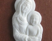 MS SALE Mother Mary Baby Jesus Christ Carved Bone Cabochon Bali Fair Trade