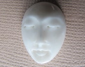 MS 18x12mm Oval Face (1) Closed Eyes Carved Cow Bone Bali Fair Trade