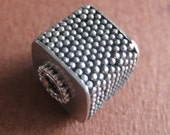 SALE 13mm Granulated Cube Focal Bead Bali Sterling Silver Fair Trade