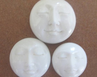 MS 14mm Carved Bone Moon Face Closed Eyes Bali Fair Trade