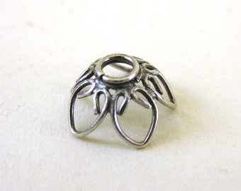 MS 10mm Wire Heart Bead Caps 4 Bali Sterling Silver Fair Trade