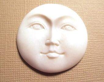 MS Moon Face Carved Bone Open Eyes 1.375 inch Bali Fair Trade