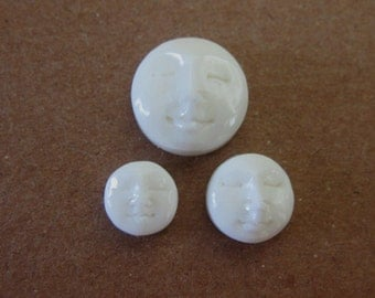 MS  Round Moon Faces (2) Closed Eyes Cabochon Carved Cow Bone Bali Fair Trade