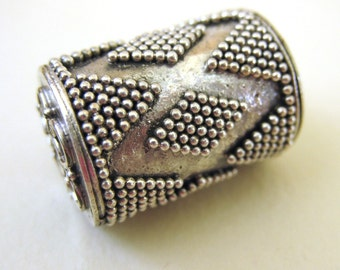 MS 10mm x 14mm Granulated Triangle Barrel Beads (2) Bali Sterling Silver