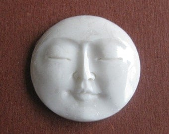 MS 1 in 25mm Moon Face Closed Eyes Carved Cow Bone Bali Fair Trade