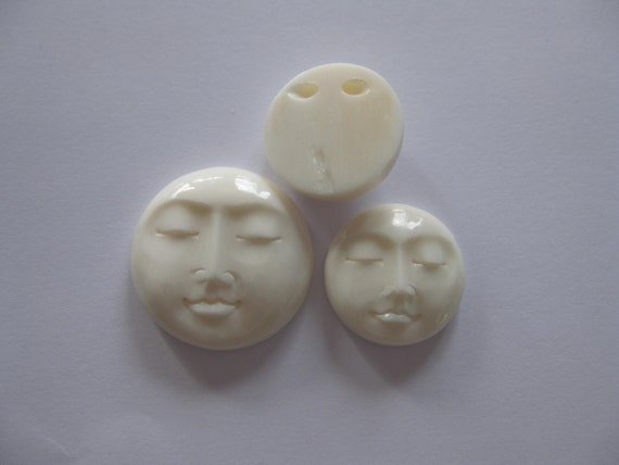 MS Bone Face Drilled Bead 1 inch 25mm Carved Bali Fair Trade