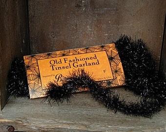Black Tinsel Garland/Vintage Style - SPPO Black Tinsel